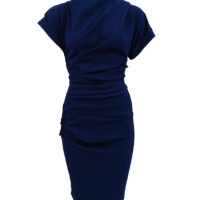 S/S RUCHED SD ZIP DRESS