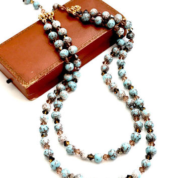 Vintage Hobe Bead Necklace, Turquoise Brown and White, Art Glass, Double Strand, Amber Crystal Spacers, Mottled Beads, Signed Hobe, 1950s
