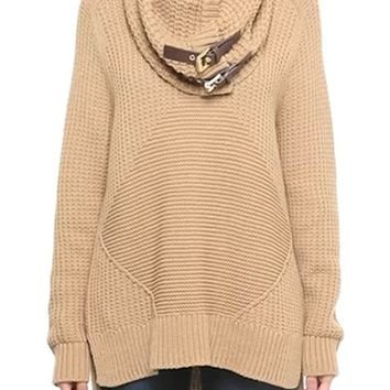MICHAEL Michael Kors Chunky Cotton Blend Sweater with Removable Buckle Tab Cowl Neck | Nordstrom
