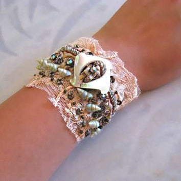 Antique Pearl Metal Lace Bracelet Cream Old by AllThingsPretty