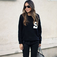 Black Letter Printed Hedging Sweater