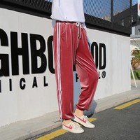 Side Stripe Velvet Joggers