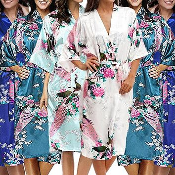 Bridesmaid Robe Set of 7, Floral, Womens Sizes 2-18, Mid Length