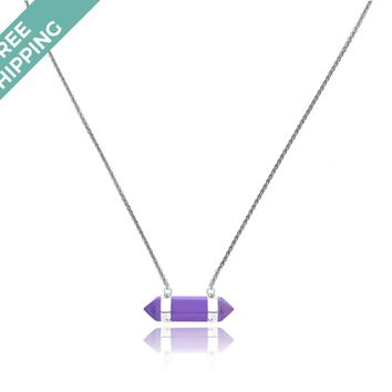 Kiz&Co Sterling Silver Amethyst Stone Necklace