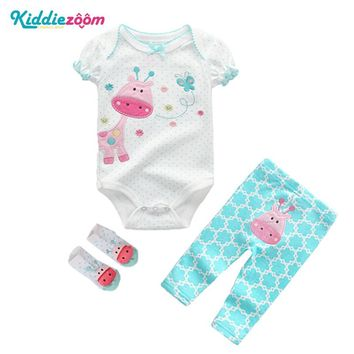 Kiddiezoom Baby Clothing Sets Newborn Baby Boy Girl Clothes Cotton Girls Summer Dresses Short O-neck unisex Infant Boy Clothing