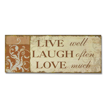 "Decorative Wood Wall Hanging Sign Plaque ""Live Laugh Love"""