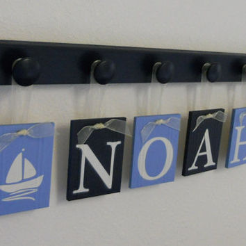 Sailboat Nursery Decor Baby Boy Blue / Navy Nautical - Boat - Sea Decor, 6 Personalized Hanging Ribbon Plaques with Name NOAH with Sailboats