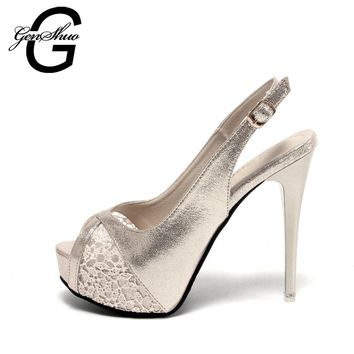 GENSHUO 2017 Gold flower Open toe Lace High Heel Shoes Women Luxury Bulack Wedding Shoes Bride 12cm Fairy maiden  Pumps