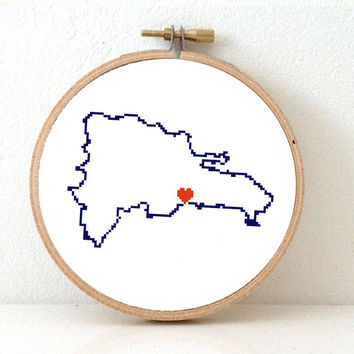 DOMINICAN REPUBLIC map modern cross stitch pattern. Dominican art. Santo Domingo map. Wedding gift for latino. Home is where the heart is