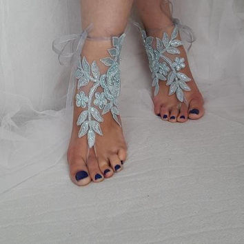 barefoot sandals,wedding shoes, summer shoes,Beaded turquaz lace, wedding sandals,prom dress accessories, foot jewelry,, free shipping!