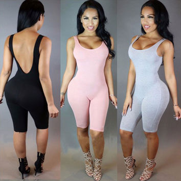 2016 Rompers Womens Jumpsuit Overalls Bodysuit Combinaison Femme Sexy Skinny Sleeveless Backless Bodycon Jumpsuit Women Playsuit