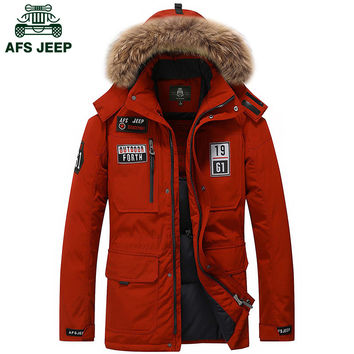 Brand duck down jacket men fur collar Winter jacket men AFS JEEP thick warm mens white duck down coat jaqueta masculina 8820A