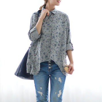 2016 New Women Shirt Cotton Linen Slant Oblique Button Blue Floral Turn-down Collar Irregular Solid Loose Blouse