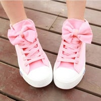 LOVELY HIGH HELP BOWKNOT CANVAS SHOES