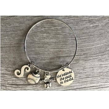 Personalized Softball She Believe She Could So She Did Bangle Bracelet