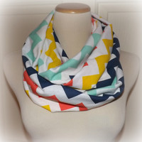 NEW!! Multi Color Mustard Mint Coral Navy Chevron New Spring/Summer Color Jersey Knit Infinity Scarf Ladies Women's BEACH Accessories