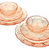 1930s Glass Dessert Set, 6 Pcs