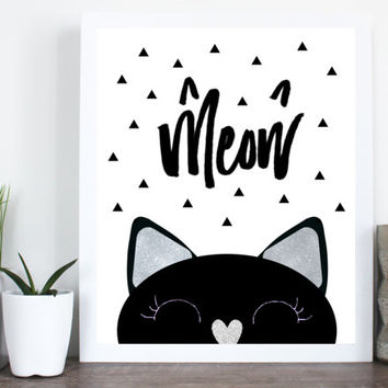 Meow cat print, modern wall art, printable cat art, 8x10 wall art, cat print, cat sign, cat lover