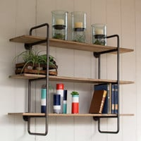 3 Tiered Metal Tube Frame Wall Shelf with Wooden Shelves- Small