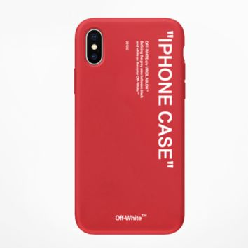 Off White New fashion letter print couple protective cover phone case Red