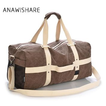 ANAWISHARE Men Travel Bags Large Capacity Women Luggage Travel Duffle Bags Canvas Travel Handbags For Trip Folding Bags