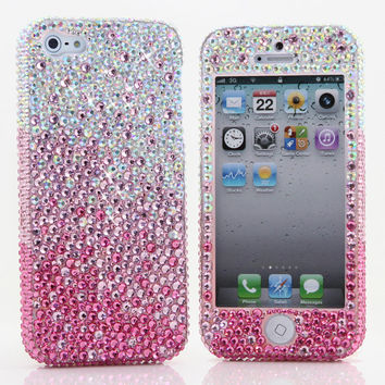iphone 5 5S 5C 4/4S - Samsung Galaxy S3 S4 Note2 Note 3 -Handcrafted Case Cover 3D Luxury Bling AB Crystal Diamond Sparkle Pink Beauty_910