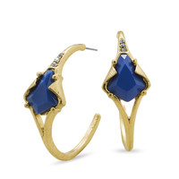 Gold Tone 3/4 Hoop Fashion Earrings with Blue Acrylic and Crystal
