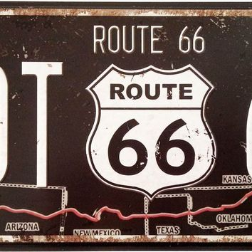 ERLOOD Route 66 Retro Vintage Auto License Plate Tin Sign Embossed Tag Size 6 X 12