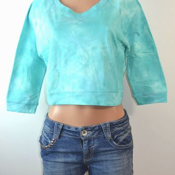 Derek Heart Subtle Cloud Tie Dye Crop Waist Sweater