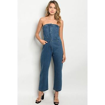 Sleeveless Retro Style Blue Jean Jumpsuit