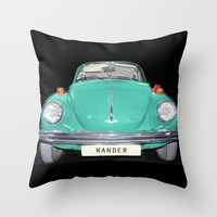 Wander Old Beetle. Vintage Volkswagen Throw Pillow by Guido Montañés