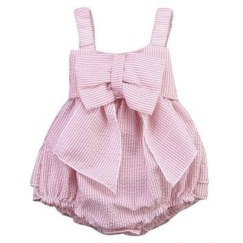 2017 New High Quality 0-24M Summer Newborn Cute Striped Bubble yarn Pink Baby Dress girl party dress newborn baby girl dress