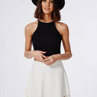 Cut-Out Bottom High Waisted A-line Mini Skirt