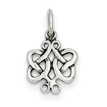 Sterling Silver Antiqued Scroll Celtic Knot Charm QC4720