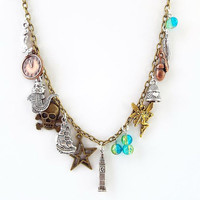 peter pan necklace - pirate fairytale fantasy jewelry - mixed metal charm necklace