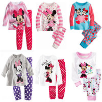baby boy girls clothes children clothes Sweet 2pcs Minnie Mickey Mouse Dot Kids Girls Love Nightwear Pajamas Sleepwear Suit Alternative Measures