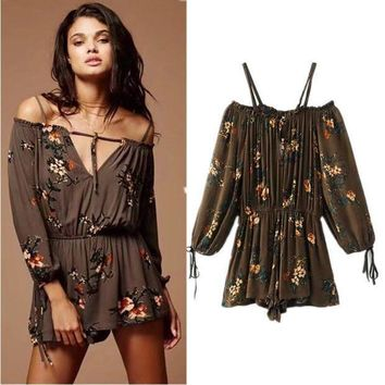ac PEAPON Women's Fashion Summer Print Long Sleeve Vacation Strapless Jumpsuit [10591807500]