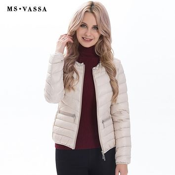 MS VASSA Ladies jacket 2017 new fashion with pearl decoration at neck Women white duck down jacket plus over size S-7XL