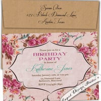 French country roses Birthday party invitation High Tea garden party Turquoise Petal fold Vintage Custom Personalized diy digital printable