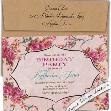Alice in wonderland first birthday from cupiddesigns on etsy french country roses birthday party invitation high tea garden party turquoise petal fold vintage custom personalized stopboris Gallery