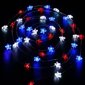 Impress Life Independence Day Decor, USA American Stars Flag Lighting for July 4th, Red White Blue String Lights Battery 10ft 40 LEDs with Remote, Patriotic Decoration for Memorial Day,Festival,Party