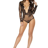 Long Sleeved Teddy with Open V-Shaped Front with Eyelash Trim