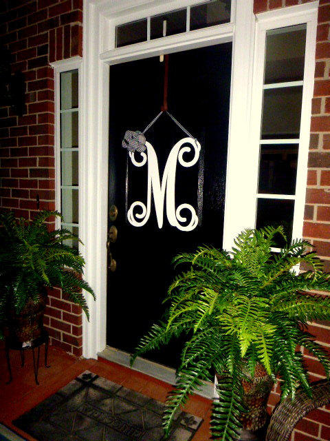 Initial monogram front door wreath / metal monogram letter- 24\  & Best Monogram Initials For Front Door Products on Wanelo