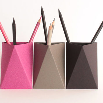 3box - Pink-Grey-Black- Origami Paper Box, Desk Pen Holder, Pencil Cup, Desk Tidy, Desk Organizer