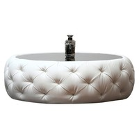 Abbyson Living Roseville Round Leather Coffee Table