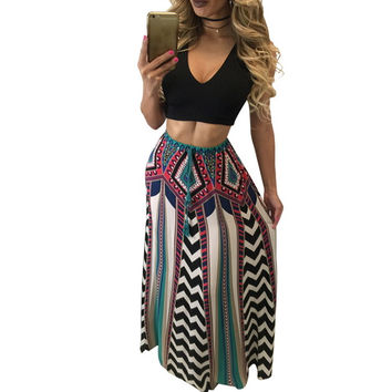 African Style Boho Two Piece Floral Print Maxi Dresses Long Sexy Backless Crop Top High Waist Vestidos Longo Vintage Dashiki