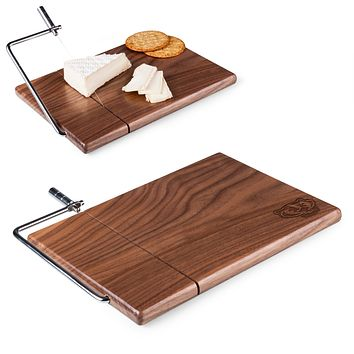Wisconsin Badgers 'Meridian' Black Walnut Cutting Board & Cheese Slicer-Black Walnut Laser Engraving