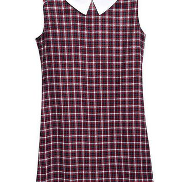 ONETOW Summer Women's Fashion Patchwork Dolls Plaid Sleeveless One Piece Dress [8997660231]