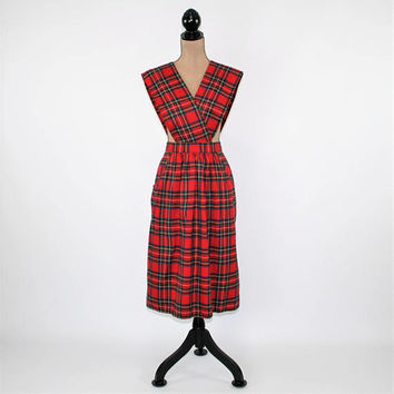 Red Plaid Jumper Dress Large Catholic School Girl Wool Tartan Scotch Plaid Dress School Uniform Vintage Clothing Womens Clothing