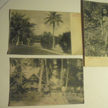 Singapore Antique - Vintage Postcards - Set of 3 - Circa early 1900's